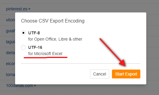 ahrefs - site explorer - exportar lista - formato