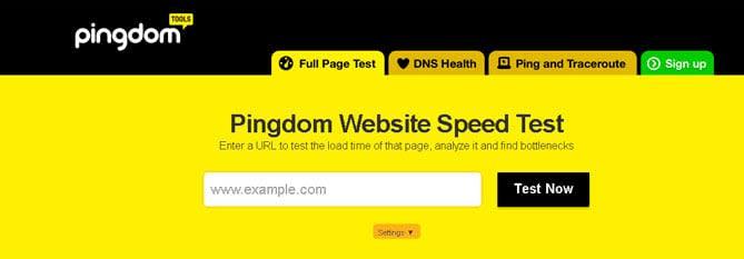 Pingdom Website Speed Test - Sitios Web para analizar la velocidad de carga de tú Web