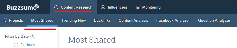 Buzzsumo - Content reserach - most shared