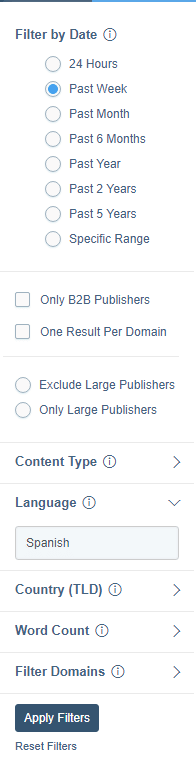 Buzzsumo - Content reserach - filtros