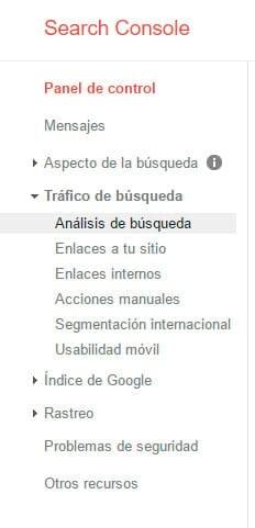 mejorar el posicionamiento seo con google search console - menu