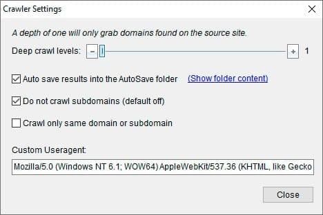 expired domain finder - crawler settings