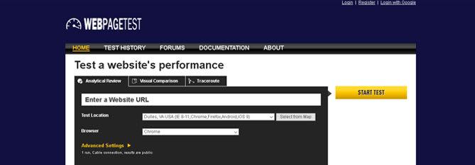 WEBpageTest - Sitios Web para analizar la velocidad de carga de tú Web