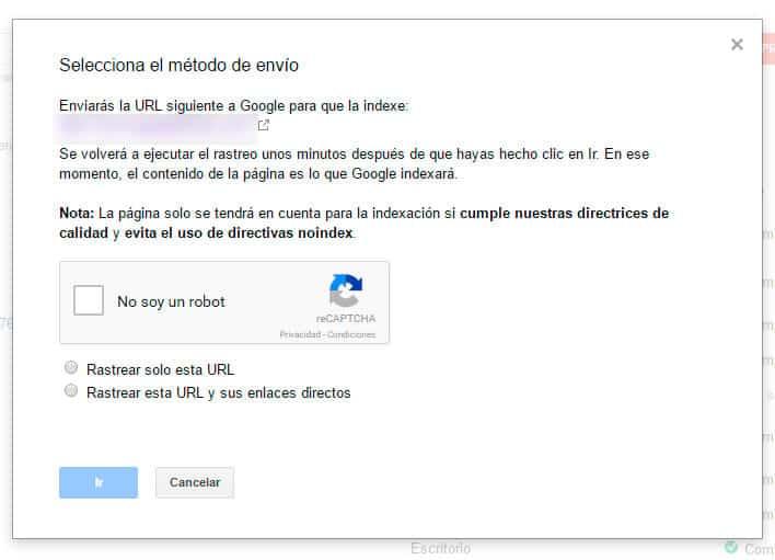 mejorar el posicionamiento seo con google search console - solicitud de indexacion