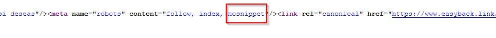 codigo fuente - nosnippet