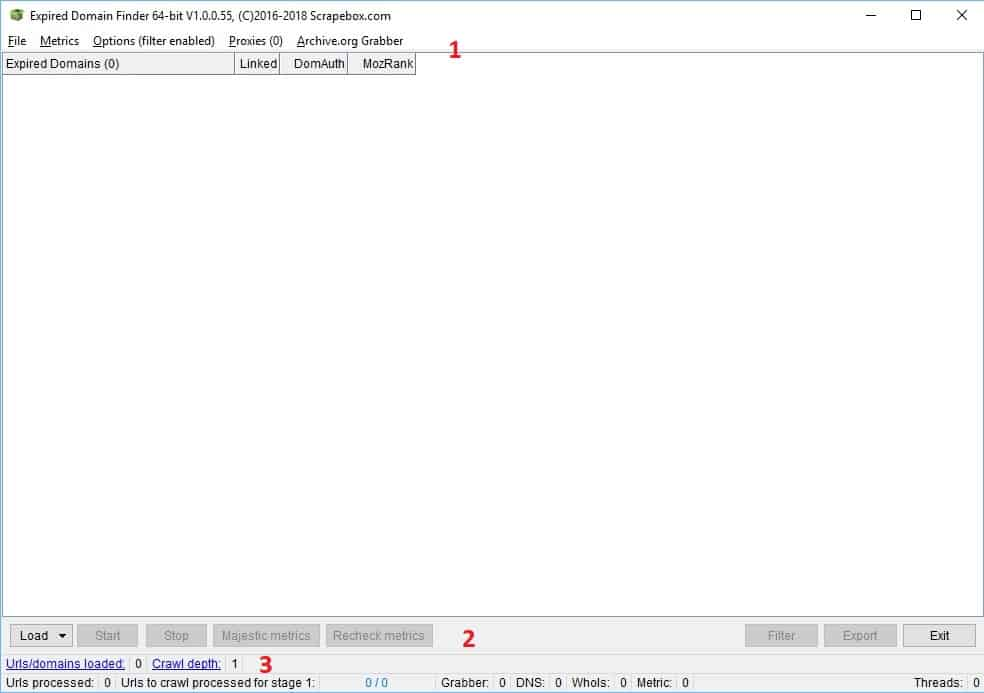 expired domain finder - pantalla principal