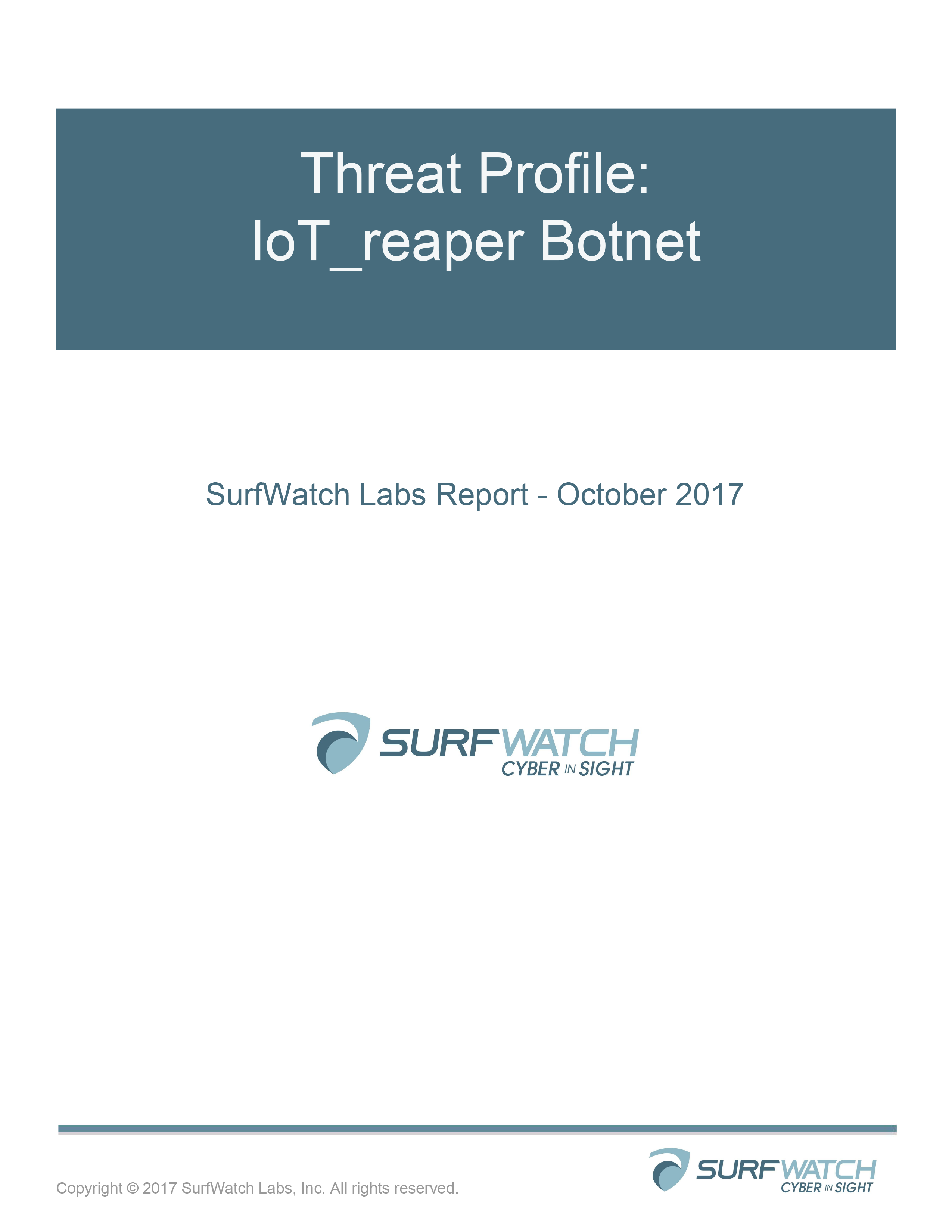 Threat profile iot reaper botnet