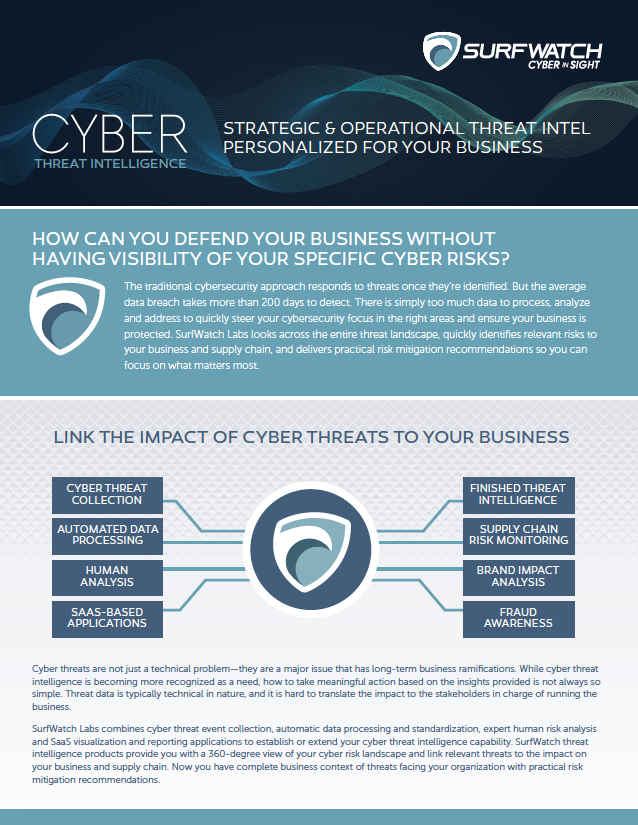 SurfWatch Labs delivers strategic and operational cyber threat intelligence that provides visibility of your relevant threats and the guidance to realign your defenses.