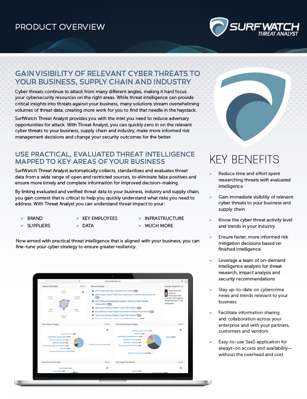 SurfWatch Threat Analyst is SaaS software that helps intelligence teams to quickly gain visibility of relevant threats to their business, supply chain and industry.