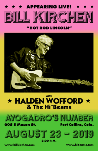 Avogadro's Number August 2019  w/Bill Kirchen - Poster Design: Ben O'Connor