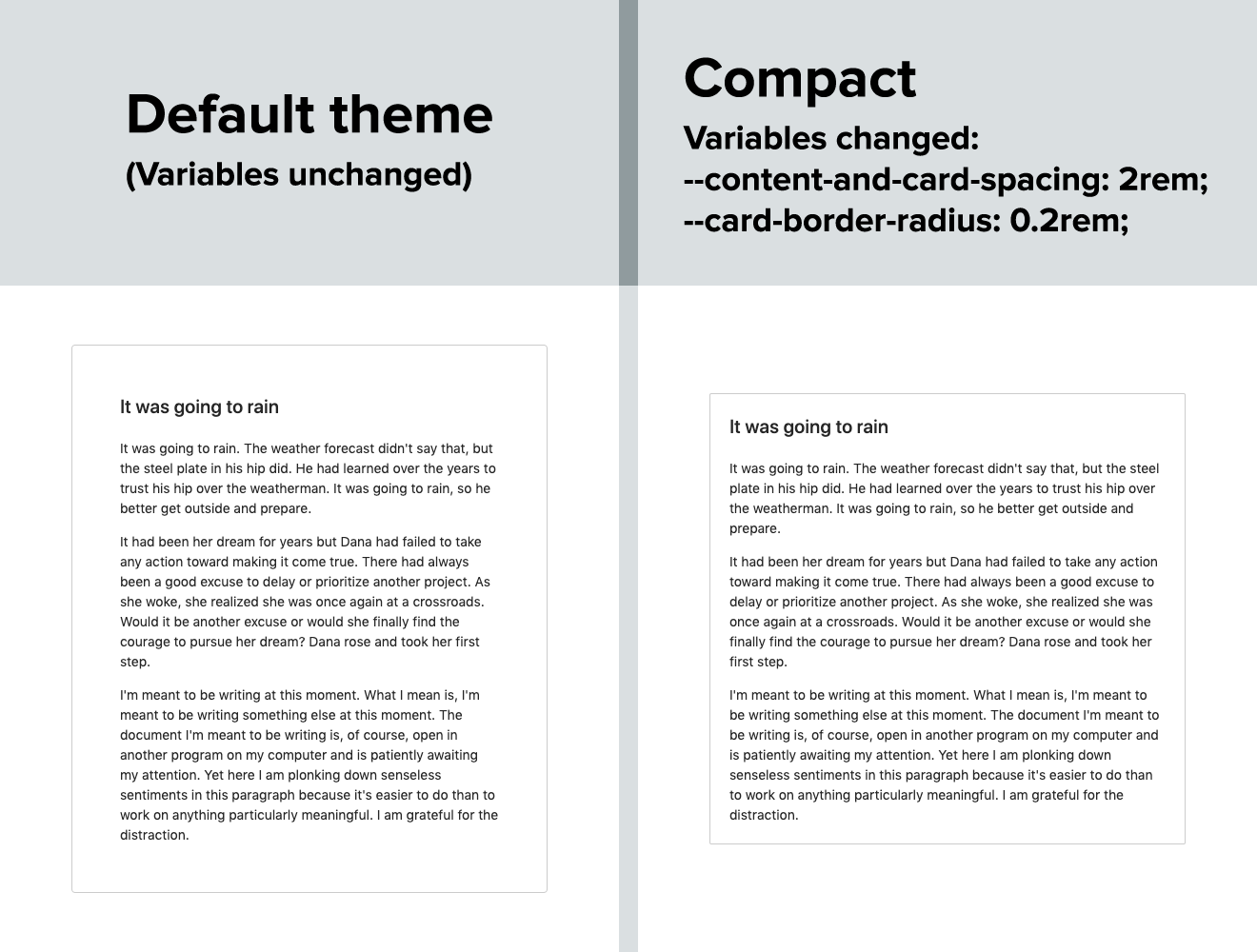 Compact theme using CSS variables