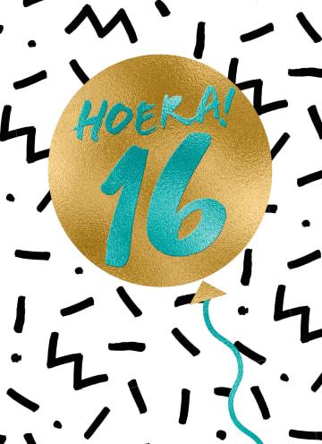 - Verjaardagskaart-hoera-16-tiener-jongen