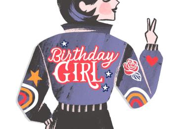 - Verjaardagskaart-tiener-meisje-stoere-jas-Birthday-girl