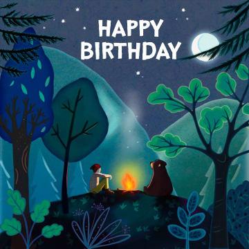- Verjaardagskaart-man-tiener-jongen-kampvuur-Happy-Birthday