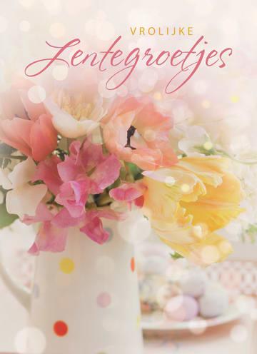 - vrolijke-lentegroetjes-kaart-met-mooie-bloemen-in-een-vaas