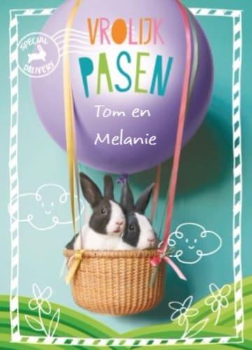 - vrolijk-pasen-kaart-met-luchtballon-en-2-konijnen