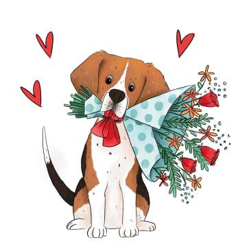 - Valentijnskaart-Getekende-hond-met-bos-bloemen-sporta