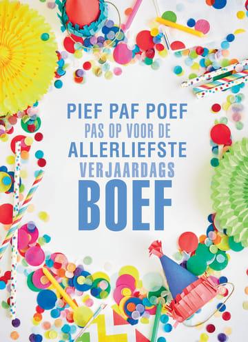 - party-decorations-kaart-met-de-tekst-pief-paf-poef-voor-de-allerliefste-verjaardagsboef