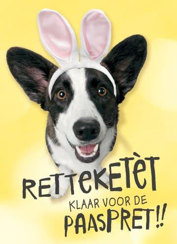 - retteketet-klaar-voor-de-paaspret-kaart-met-hond