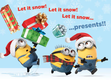 - kerst-minions-let-it-snow-presents