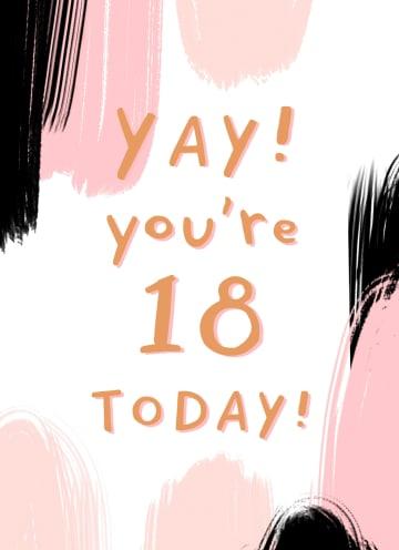 - Verjaardagskaart-jonge-vrouw-yay-you-are-18