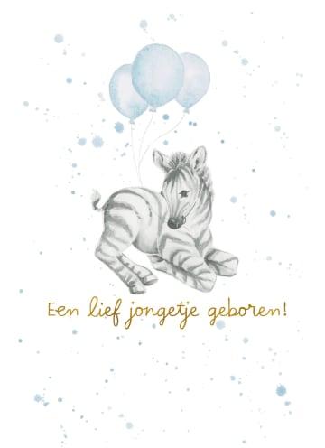 - Babykaart-zoon-Zebra-met-blauwe-ballonnen