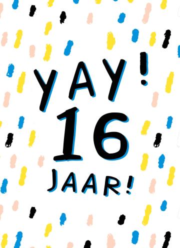 - Verjaardagskaart-yay-16-tiener-jongen-meisje
