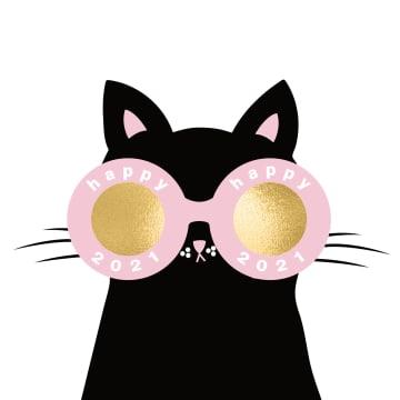 - nieuwjaarskaart-kat-zonnebril