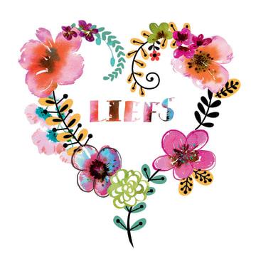 - vierkante-kaart-hart-bloem-liefs