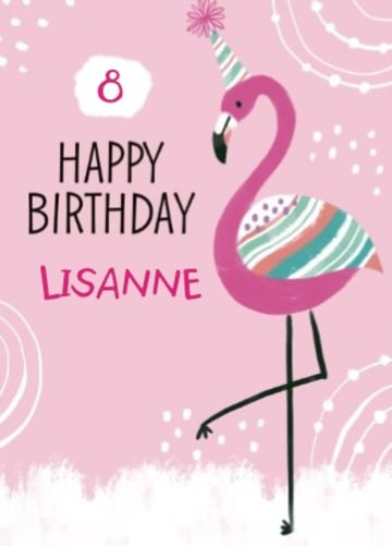 - Verjaardagskaart-flamingo-aanpasbare-tekst