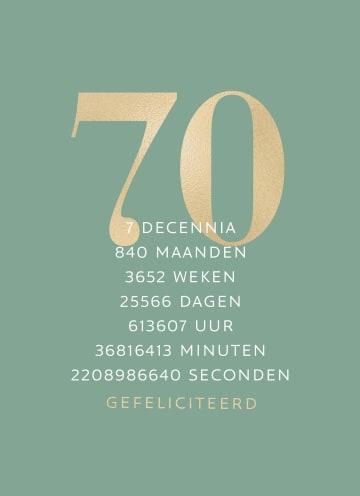 - Verjaardagskaart-70-groen-gouden-letters