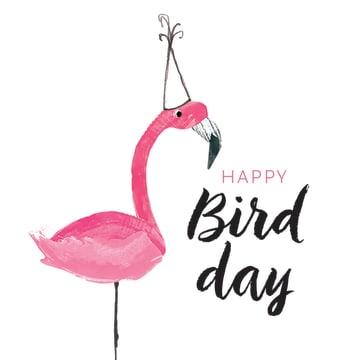- roze-flamingo-met-feesthoed-op