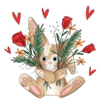 - liefdekaart-konijn-bloemen-matia-studio
