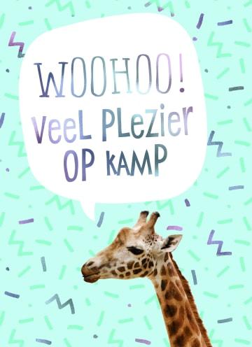 - Op-kamp-kaart-giraffe-woohoo-veel-plezier