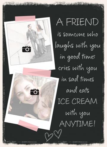 - fotokaart-zwart-met-vrienden-vriendinnen-tekst