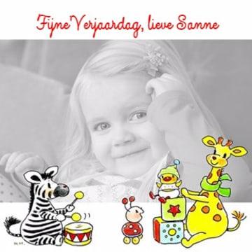 - fotokaart-vierkant-gefeliciteerd-giraffe-zebra