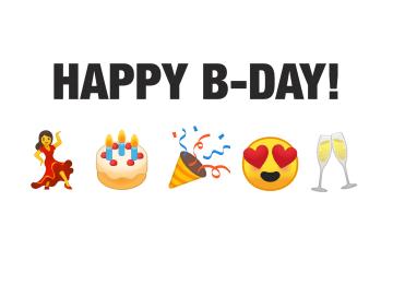 - verjaardagskaart-vrouw-emojis-happy-birthday-taart-dansen-champagne