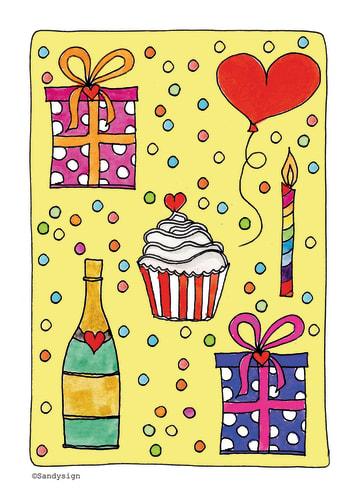 - blanco-feestelijke-kaart-met-champagne-cadeautjes-en-taart