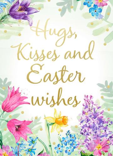 - Paaskaart-Engels-Hugs-kisses-and-Easter-wishes