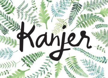 - botanical-kaart-bladeren-met-het-woord-kanjer