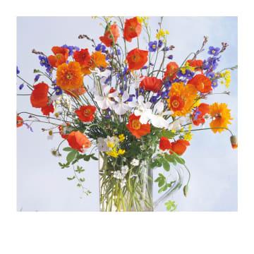 - Verjaardagskaart-vrouw-Groot-boeket-bloemen-Polaroid