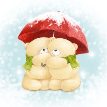 - beren-onder-paraplu-met-sneeuw-erop