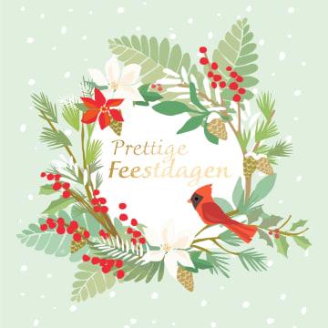 - Kerstkaart-klassiek-Kerstkrans-met-rode-vogel