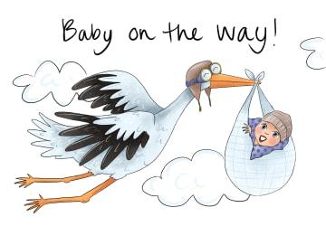 - Babykaart-Ooievaar-met-Baby-on-the-way-Matia-Studio