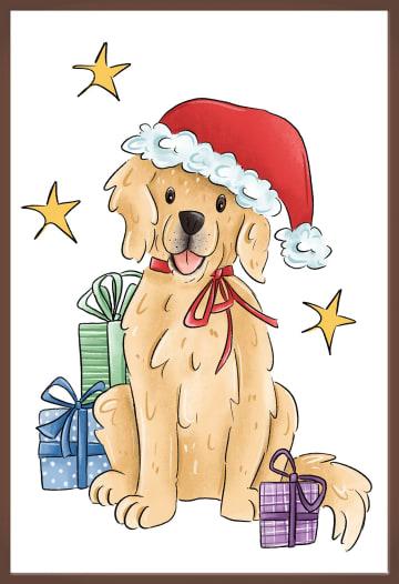 - Kerstkaart-chocolade-Grappige-hond-met-kerstmuts