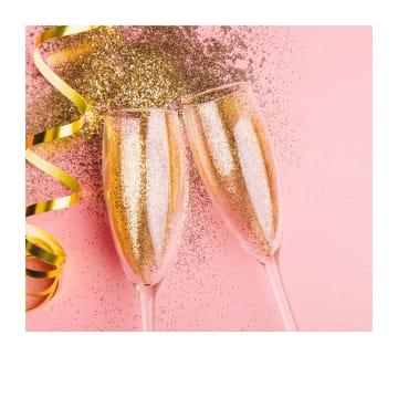 - Verjaardagskaart-vrouw-hip-champagne-en-glitters-Polaroid