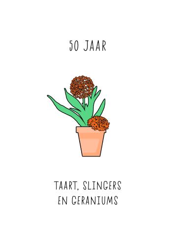- Verjaardagskaart-50-taart-slingers-en-geraniums