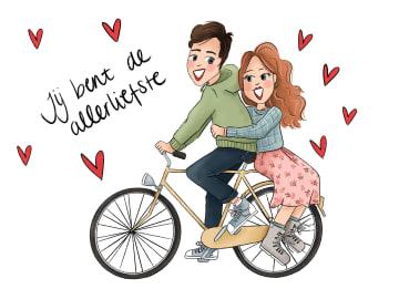 - Valentijnskaart-Verliefd-stel-op-fiets