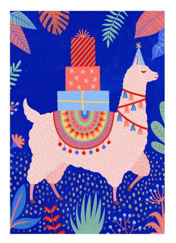 - Verjaardagskaart-tiener-meisje-lama-met-cadeautjes