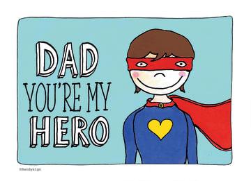 - een-grappige-kinderlijke-kaart-dad-youre-my-hero